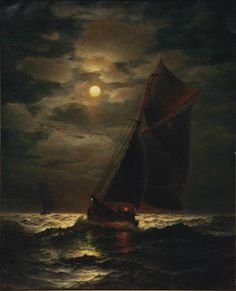 James Gale Tyler (1855-1931) - Ships sailing by moonlight