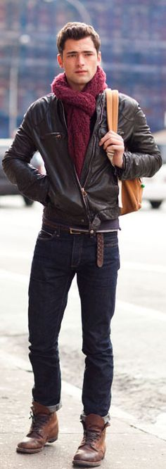 Casual styling with leather jacket/boots & belt, jeans and a scarf!