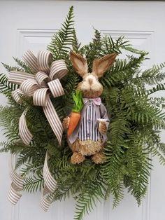 Easter Door Wreath Easter Wreath for Front Door Easter Spring Door Wreaths, Easter Wreaths, Holiday Wreaths, Holiday Ideas, Easter Gift, Easter Crafts, Easter Bunny, Easter Decor, Easter Ideas