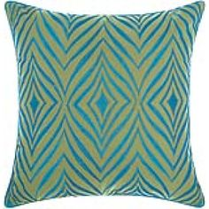 "Mina Victory Indoor/ Outdoor Wild Chevron Green/ Turquoise Throw Pillow by Nourison (18 x 18-inch) (18"" x 18"") (Acrylic, Geometric)"