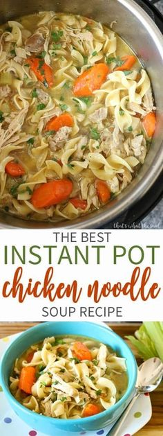 Instant Pot Chicken Noodle Soup – That's What {Che} Said. A delicious and easy soup that tastes like it simmered all day long when in actuality it cooked in minutes! Instant Pot Chicken Noodle Soup is awesome! Instant Pot Pressure Cooker, Pressure Cooker Recipes, Pressure Cooker Chicken Soup, Chicken Cooker, Cooked Chicken, Boneless Chicken, Pressure Cooking, Slow Cooker, Instant Pot Chicken Noodle Soup Recipe