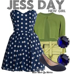Inspired by Zooey Deschanel as Jessica Day on New Girl ||| sleeveless blue polka dot dress and green shrug
