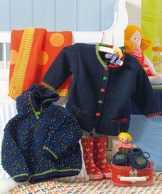 Baby's Jacket pattern. 3 months to 2 years. O casaquinho de cima pertencerá a um bebé da TAP? ;-)