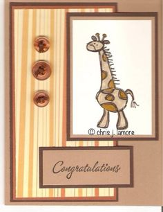 SU Giraffe card for a baby boy