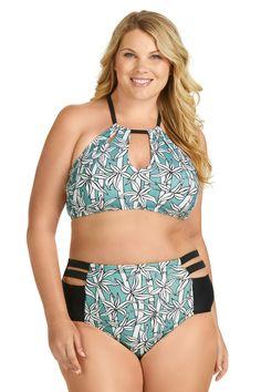 3b38b99221844 Raisins Curve Juniors Plus Size Bambu Rosalie High Neck Keyhole Bra Swim Top