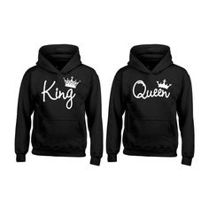 KING QUEEN couple hoodies, matching hoodie Comes in a pair BOTH... ($23) ❤ liked on Polyvore featuring tops, hoodies, unisex tops, mixed print top, colorful tops, checkered hoodie and colorful hoodie