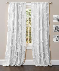 White Kennedy Curtain Panel- love the length and texture and that light can come through
