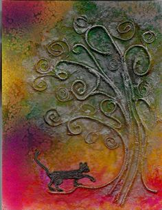 """""""Different sizes of twine were glued down and decoupaged with white tissue to create my cat and tree. Rock salt and Dylusions spray were used afterward, and when it all dried and the salt was brushed off, I used a metallic inkpad around the tree to pick out the detail."""" - artist Sandra Strait. She has a wonderful blog. #art #journal"""