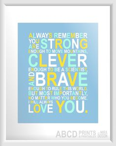 Nursery quote print Always remember... 8X10