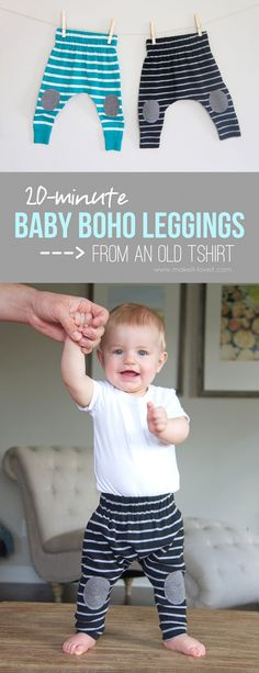 Simple 20-minute Baby Boho Leggings (...from an old Tshirt)!! | via Make It and Love It