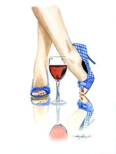 Wine & Heels - watercolor by Anthony Billings