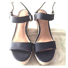 Wedge shoes Black wedge sandal. Used condition. Believe it or not but pretty comfortable. The platform make them comfy. Merona Shoes