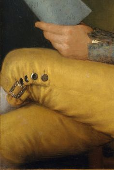 Detail of buckle and buttons of a pair of yellow breeches worn by Sebastián Martínez y Pérez (1747–1800), 1792, by  Francisco de Goya.