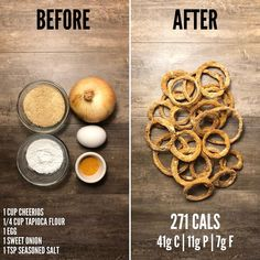 I was pleasantly surprised at how well they turned out. They were crispy, flavorful, and not oily at all. My least favorite part about eating onion rings is the greasy breading Healthy Menu, Healthy Meal Prep, Healthy Snacks, Healthy Eating, Healthy Recipes, Keto Meal, Healthy Sweets, Baked Onions, 5 Minute Meals