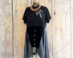 Plus Size Hoodie Brown Hooded Shirt Artsy by BrokenGhostClothing