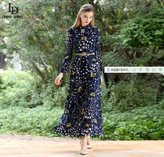 HIGH QUALITY New Fashion 2016 Women's Long Sleeve Elegant Floral Print Long Maxi Dress Plus size S-3XL | UNUM CLICK - Online Shopping for Electronics, Fashion, Home & Garden, Toys & Sports, Health & Beauty and more