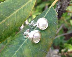 Glass Pearl Post Earrings // Silver Pearl by PandaStringsJewelry