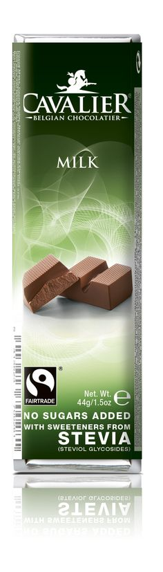 Bar with sweeteners from Stevia, milk chocolate. Cavalier the pioneer in no sugars added chocolate.