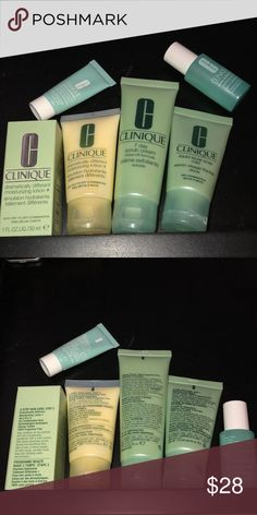 🆕Clinique Skincare Travel/Sample Set Includes: 2 Dramatically Different Moisturizing Lotion+ 30mL each  1 Seven Day Scrub Cream 50mL 1 Liquid Mild Face Soap 30mL 1 Acne Solutions Clearing Moisturizer 7mL 1 Acne Solutions Clarifying Lotion 15mL New and Unused. All Offers Will Be Considered. No Trades. A Random Beauty Sample Will Be Included with Every Package! The Bigger the Bundle the Better the Sample! Loyal Buyers Will Receive a Free Gift on the Third Transaction! Sephora Makeup