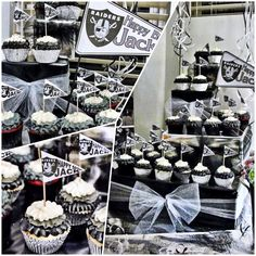 50th Bday Party.... The Cupcake Display!   I wrapped graduating sizes of square boxes with plain Black and silver foil paper, alternating colors.  I tied glitter tulle in Silver and black around each box and set the yummy cupcakes atop of each box.  The delicious cupcakes were made by Creative Cakes By Alicia (CoSprings).  A dozen of Tiramisu cupcakes with Khalua-laced frosting, dyed to match the Black-Silver-White theme.  Also a dozen red velvet cupcakes w/ cream cheese frosting. Super…