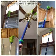 Norwex EnviroWand and Telescopic Mop Handle pair together so well to reach those hard-to-reach areas. You could use it on gutters, under the stove or refrigerator to find that lost toy or pill, so many uses. Message me for more information at www.JoyAlderson.Norwex.biz