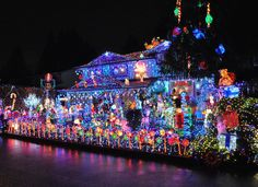 Covered in Christmas in Port Coquitlam, British Columbia, Canada Christmas Decorations Canada, Xmas Decorations, Holiday Decor, Hanging Christmas Lights, Holiday Lights, Xmas Lights, Merry Christmas, Christmas Town, Christmas Scenes