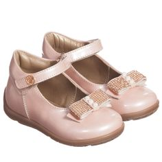 Girls Pink Pearlescent Velcro Shoes  , Miss Blumarine, Girl