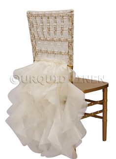 We customize our chair backs to cover any style chair. This specialty chair cover is in lace material with organza tutu hanging from the back of the chair. Black Chair Covers, Fancy Chair, Chair Backs, Wedding Chairs, Fabric Shades, Lace Back, Table And Chairs, Tables, Event Decor