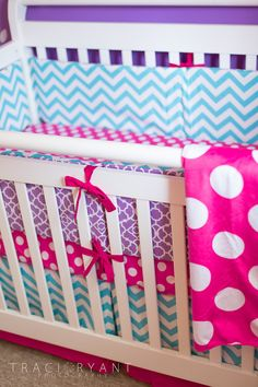 Fun turquoise chevron crib bedding. Mix in other patterns like a bold polka dot. #chevronbumper