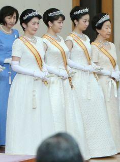 imperialfamilyjapan:  New Year's Ceremony, Imperial Palace, January 1, 2016-Princess Kiko, Princess Mako, Princess Kako, and Princess Hanako