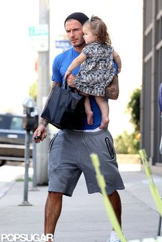 David and Harper Beckham shared a sweet father-daughter outing in LA this afternoon. The duo grabbed lunch on Melrose and then headed back to their car. Harper was decked out in an adorable printed dress while David went casual in sweats. They recently wrapped up a fun family weekend that included plenty of soccer. Harper sat on the sidelines with David, who kissed her as she hung out in his lap, while her brothers took the field. The next day, David joined a dressed-down Victoria to see…