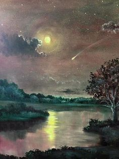 The Silence of A Falling Star by Randy Burns Tree Watercolor Painting, Gouache Painting, Watercolor Landscape, Top Paintings, Starry Nights, Falling Stars, Watercolor Techniques, Watercolours, Beautiful Paintings