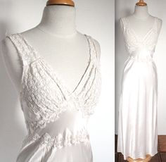 Vintage 1930's Nightgown // 30s 40s White Bias Cut Satin Rayon Lingerie Gown with Embroidered Lace // DIVINE by TrueValueVintage on Etsy