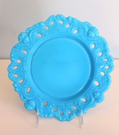 Cherub Plate by Dithridge, Blue Milk Glass