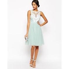 Lipsy VIP Laser Cut Midi Prom Dress With Full Skirt ($83) ❤ liked on Polyvore featuring dresses, mint, mint green prom dress, mint dress, white cocktail dresses, mint cocktail dress and embellished dresses