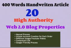 Check out my #Gig: write an article and manually create 20 high authority web 2,0 ... for $5 on #Fiverr http://a.5rr5.co/s/48tv4k