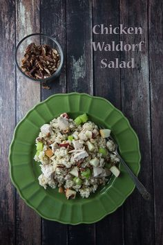 Chicken Waldorf Salad - rotisserie chicken, brown rice, apples and more makes a delightful light dinner or lunch.