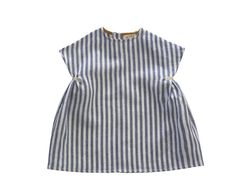 sweet little blue striped linen, cap sleeve dress with gathering under each arm, held with linen ribbon tabs