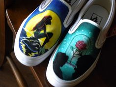 Ariel/Beauty and the Beast shoes by ~kategatsby on deviantART