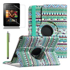 """-Kindle Fire HD 7 Case, ULAK 360 Degree Rotating PU Leather Stand Case Cover for Amazon Kindle Fire HD 7"""" (2012 Previous Model, Not Fit All New Kindle Fire HD 2013 Model and Kindle Fire HDX) with Auto Sleep-Wake Function and Screen Protector with Stylus (Tribal Green) ULAK Kindle Case, Amazon Kindle Fire, Stylus, Screen Protector, Pu Leather, Sleep, Phone Cases, Technology, Mom"""