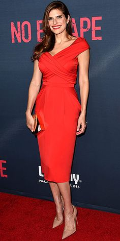 Last Night's Look: Love It or Leave It? Vote Now!   LAKE BELL    in a scarlet Vionnet dress and nude Christian Louboutin shoes at a premiere for her movie No Escape in L.A.