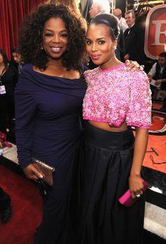Oprah and Kerry Washington linked up at the SAG Awards. kerri washington, dress 2014, oprah winfrey, red carpets, sag award, red carpet dresses