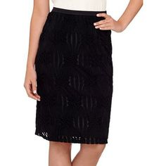 Linea by Louis Dell'Olio Black Textured Geometric Pencil Skirt ($35) ❤ liked on Polyvore featuring skirts, knee length pencil skirt, textured skirt, long skirts, geometric pencil skirt and pencil skirt