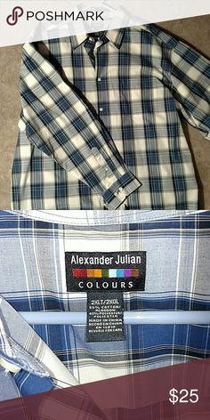 2XLT mens dress shirt 2xlt men's button down shirt Alexander Julian Shirts Casual Button Down Shirts