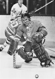 Canada Cup '76 Czech goalie Vladimir Dzurilla at 34 years of age and a veteran of 16 years with the Czech national hockey teams, hadn't played much since the 1972 championships but he was resurrected earlier this year. Here he makes one of 23 saves in the Czechs 1-0 win over Canada. (Sept. 9, 1976)
