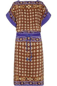 robe en soie imprimé marron et violet à manche kimono chloé