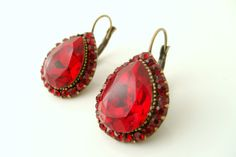Art deco vintage style red crystal rhinestone antique by xxyz, $30.00
