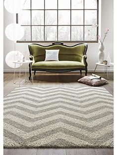 benuta Teppiche: Moderner Designer Hochflor Teppich Graphic Zick Zack Schwarz/Weiß 120x170 cm - GuT-Siegel - 100% Polypropylen - Chevron / Zickzack - Maschinengewebt - Wohnzimmer