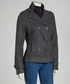 A classic silhouette at its best, nothing beats a great coat. This double-breasted beauty features an oversize collar and flared hem that make it stylish perfection.Measurements (size M): 22'' long from high point of shoulder to hem100% polyesterMachine wash; tumble dryImported<...