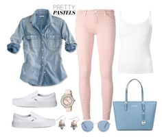 """""""pretty pastels"""" by gallant81 ❤ liked on Polyvore featuring Current/Elliott, J.Crew, The Row, Vans, MICHAEL Michael Kors, Ted Baker, NOVICA, MANGO, women's clothing and women's fashion"""